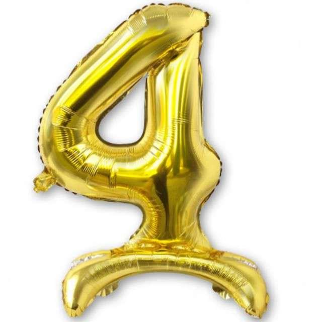 Balon foliowy Cyfra 4 stojąca złota DekoracjePolska 30 SHP
