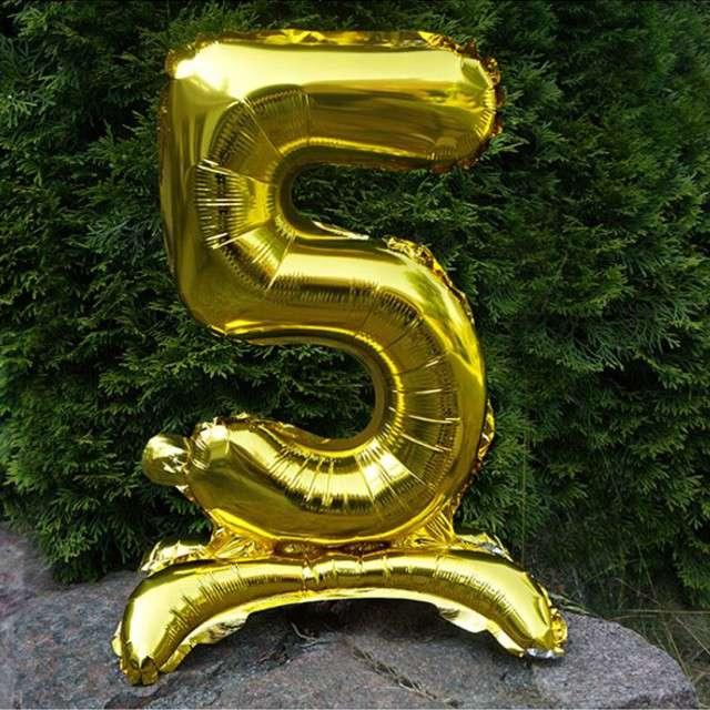 Balon foliowy Cyfra 5 stojąca złota DekoracjePolska 15 SHP