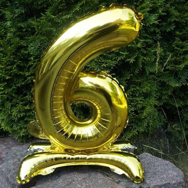 Balon foliowy Cyfra 6 stojąca złota DekoracjePolska 15 SHP