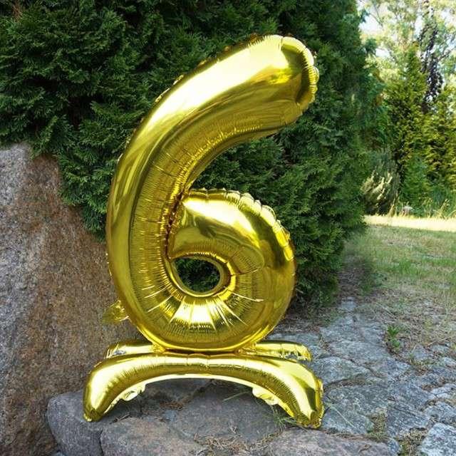 Balon foliowy Cyfra 6 stojąca złota DekoracjePolska 30 SHP
