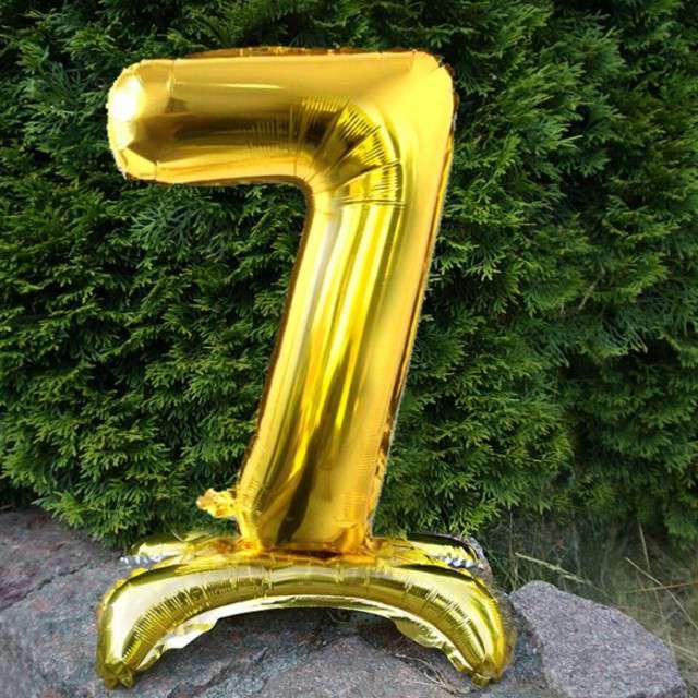 Balon foliowy Cyfra 7 stojąca złota DekoracjePolska 15 SHP