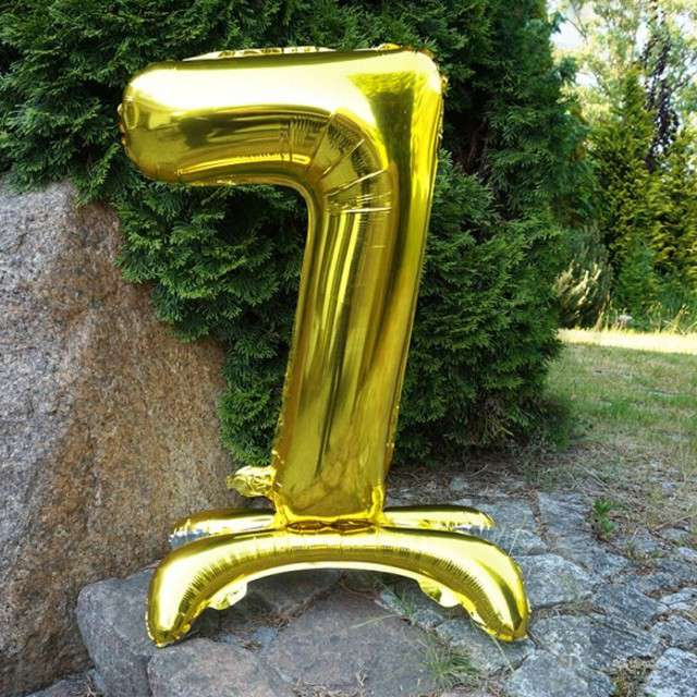 Balon foliowy Cyfra 7 stojąca złota DekoracjePolska 30 SHP
