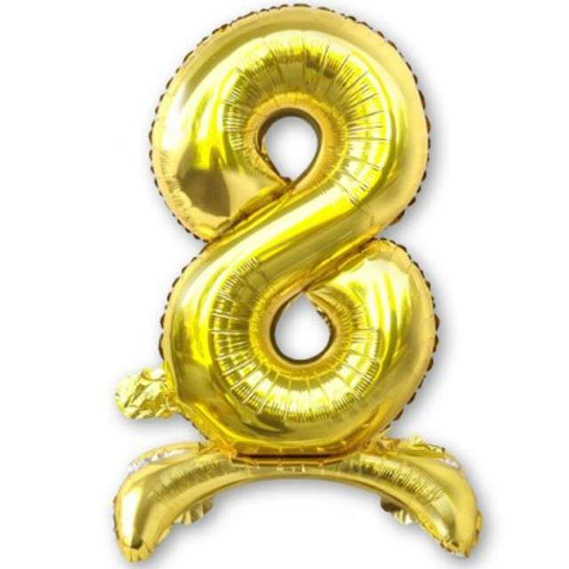 Balon foliowy Cyfra 8 stojąca złota DekoracjePolska 15 SHP
