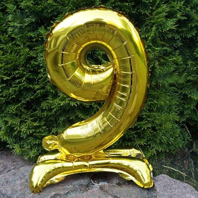 Balon foliowy Cyfra 9 stojąca złota DekoracjePolska 15 SHP