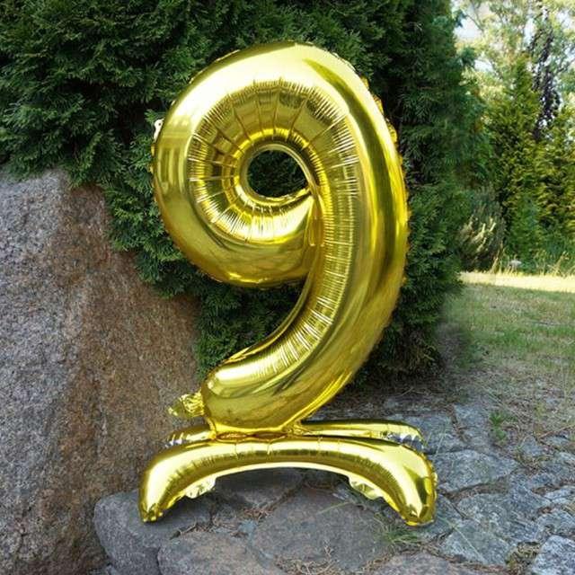 Balon foliowy Cyfra 9 stojąca złota DekoracjePolska 30 SHP