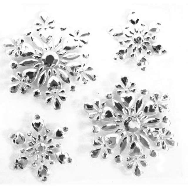 """Dekoracja na okno """"Samoprzylepne płatki śniegu"""", srebrne, Arpex, 4 szt"""