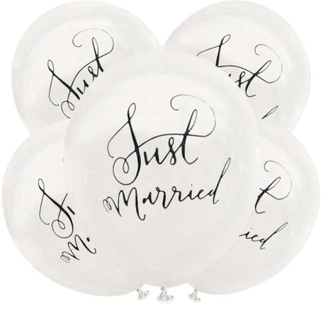 """Balony """"Just Married"""", białe, Dekoracje Polska, 12"""", 5 szt"""