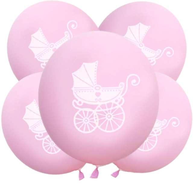 """Balony """"Chrzest Święty - wózek"""", różowe, DekoracjePolska, 12"""", 5 szt"""