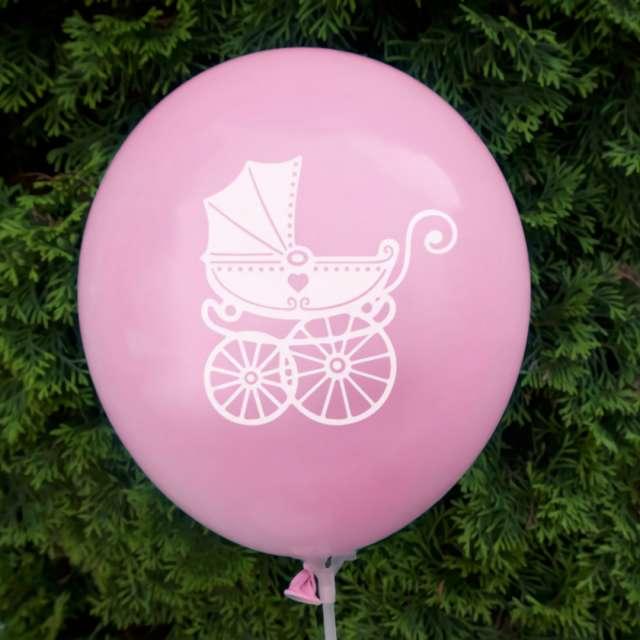 Balony Chrzest Święty - wózek różowe DekoracjePolska 12 5 szt