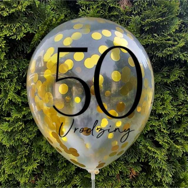 Balony Złote Konfetti - 50 Urodziny Dekoracje Polska 12 5 szt