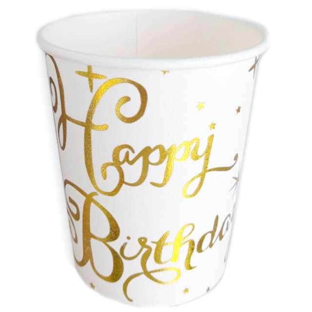 """Kubeczki papierowe """"Happy Birthday"""", biało-złote, DekoracjePolska, 266 ml, 10 szt"""