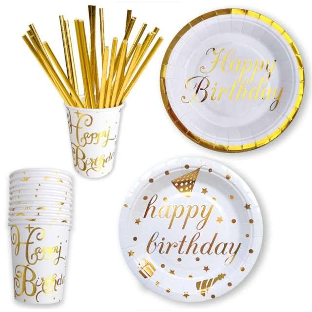 Kubeczki papierowe Happy Birthday biało-złote DekoracjePolska 266 ml 10 szt