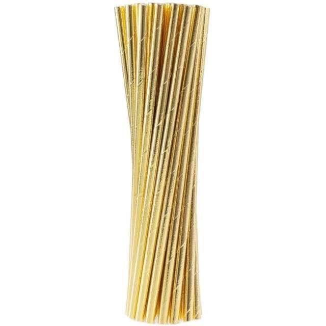 Słomki papierowe Metalic złote DekoracjePolska 25 szt