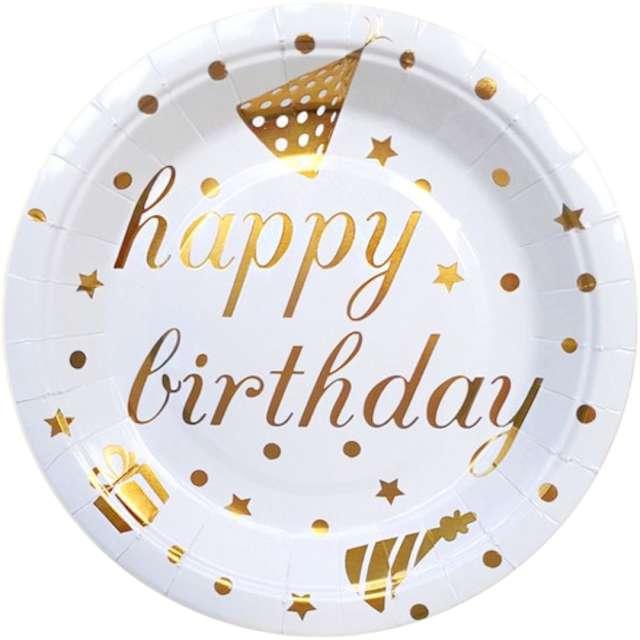 Talerzyki papierowe Happy Birthday biało-złote DekoracjePolska 18 cm 10 szt