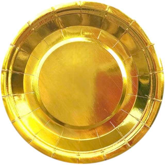 """Talerzyki papierowe """"Classic"""", złote, DekoracjePolska, 18 cm, 10 szt"""
