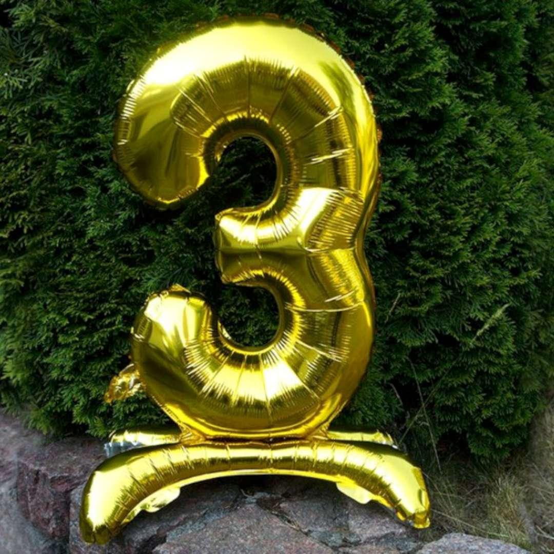 Balon foliowy Cyfra 3 stojąca złota DekoracjePolska 15 SHP