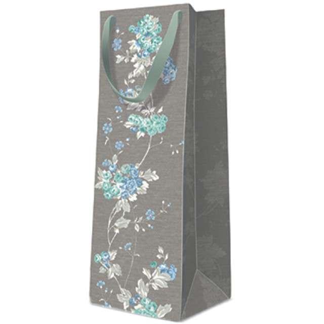 Torebka prezentowa Kwiaty szara PAW 12x37x10 cm