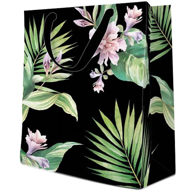 Torebka prezentowa Kwiaty czarna PAW 20x25x10 cm