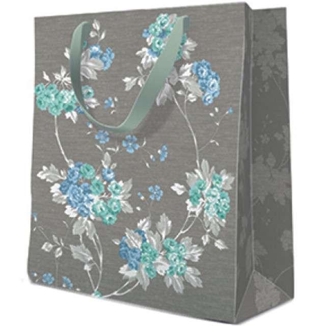 Torebka prezentowa Kwiaty szara PAW 20x25x10 cm