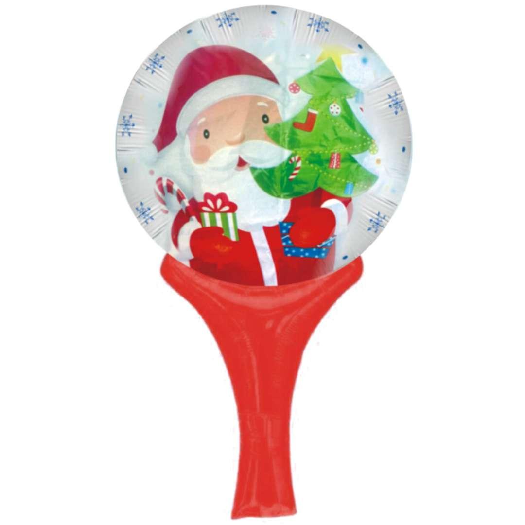 Balon foliowy Mikołaj z choinką i prezentem 18 SHP
