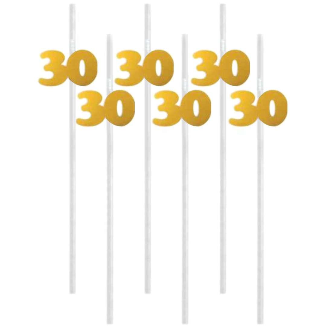 """Słomki """"30"""", 21 cm, złote, 6 szt"""