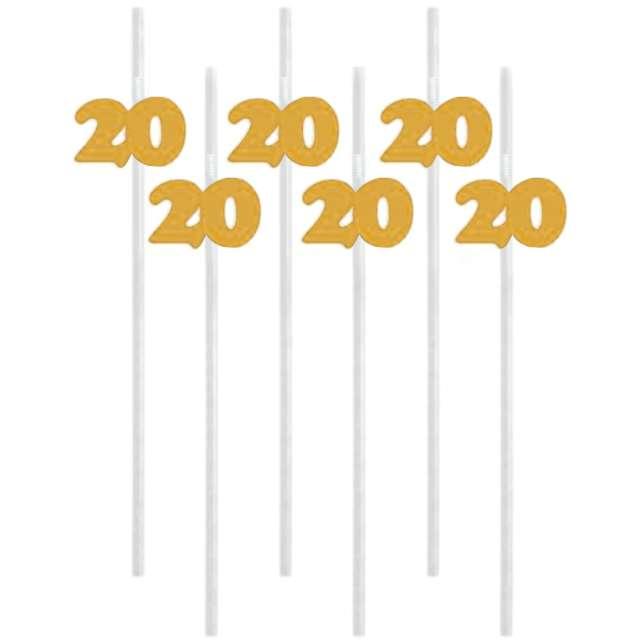 """Słomki """"20"""", 21 cm, złote, 6 szt"""