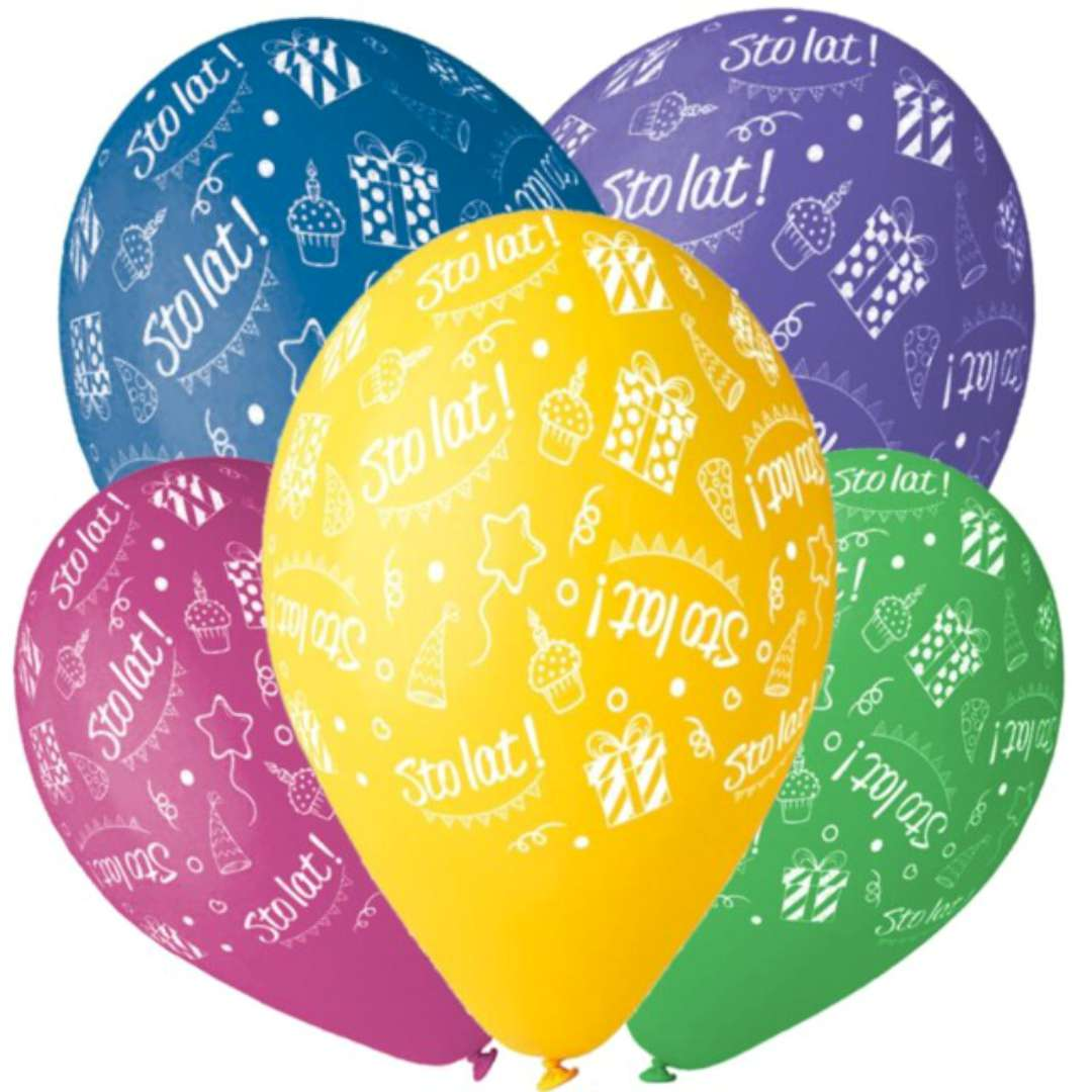 "Balony ""Sto lat - urodziny"", mix, Gemar, 12"", 5 szt"