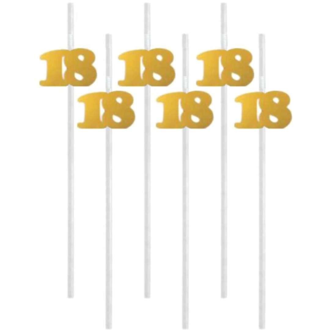 """Słomki """"18"""", 21 cm, złote, 6 szt"""
