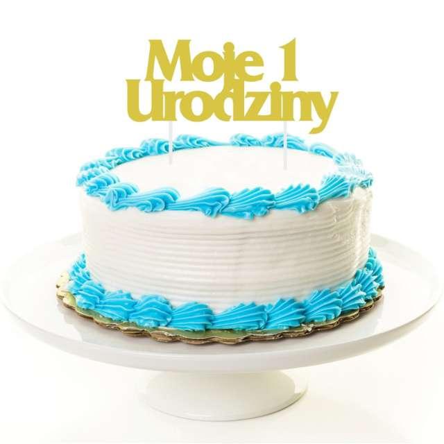 Dekoracja na tort Moje 1 Urodziny złoty GODAN 185 cm
