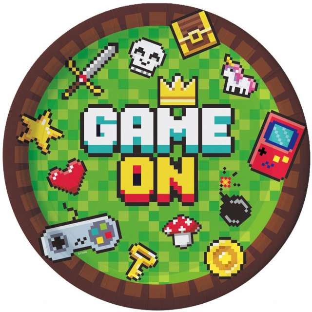 """Talerzyki papierowe """"Gaming Party"""", Godan, 18 cm, 6 szt"""