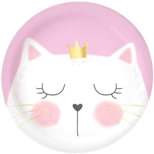 """Talerzyki papierowe """"Kotek z koroną"""", różowe, Godan, 18 cm, 6 szt"""