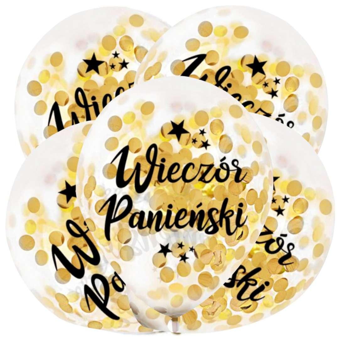 """Balony """"Złote Konfetti - Wieczór Panieński"""", transparentne, Dekoracje Polska, 12"""", 5 szt"""