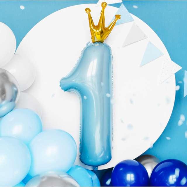 Balon Cyfra 1 z koroną błękitno-złoty PartyDeco 35