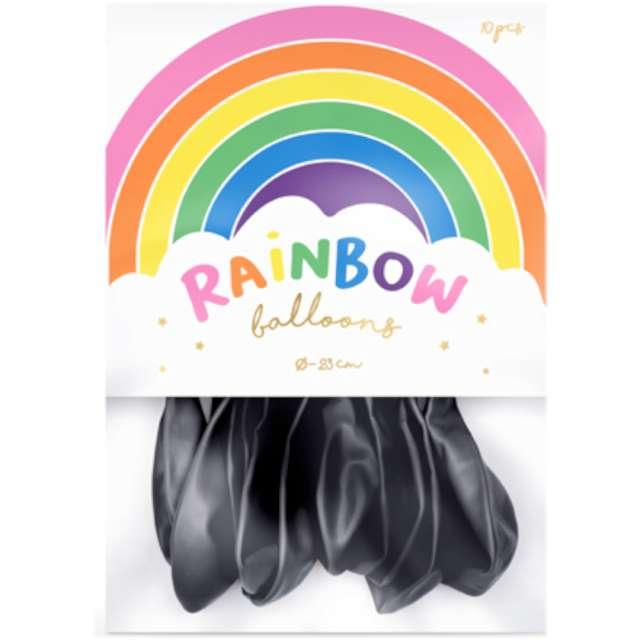 Balony Rainbow - Metalizowane czarne PartyDeco 9 10 szt