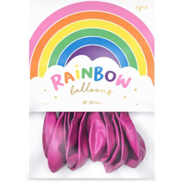 Balony Rainbow - Metalizowane fuksja PartyDeco 9 10 szt
