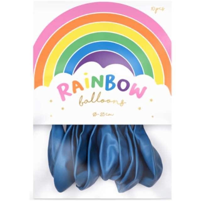 Balony Rainbow - Metalizowane granatowe PartyDeco 9 10 szt