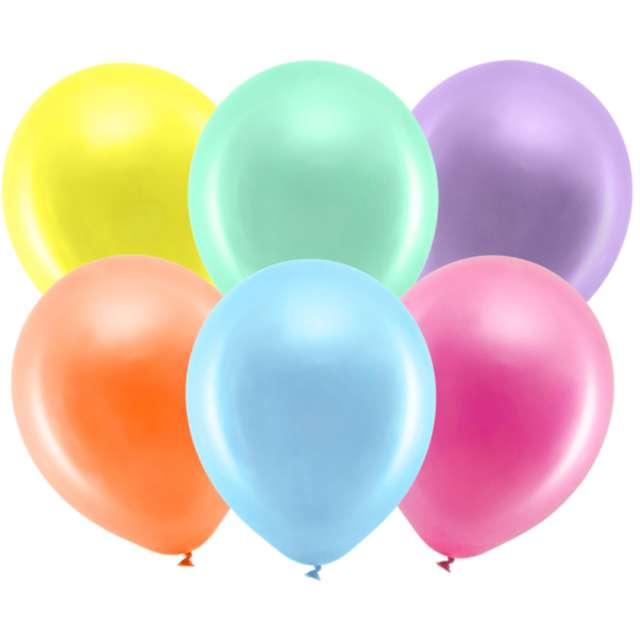 Balony Rainbow - Metalizowane mix PartyDeco 9 10szt