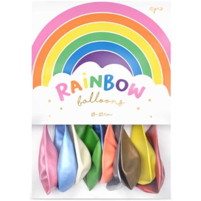 Balony Rainbow - Metalizowane mix PartyDeco 9 10 szt