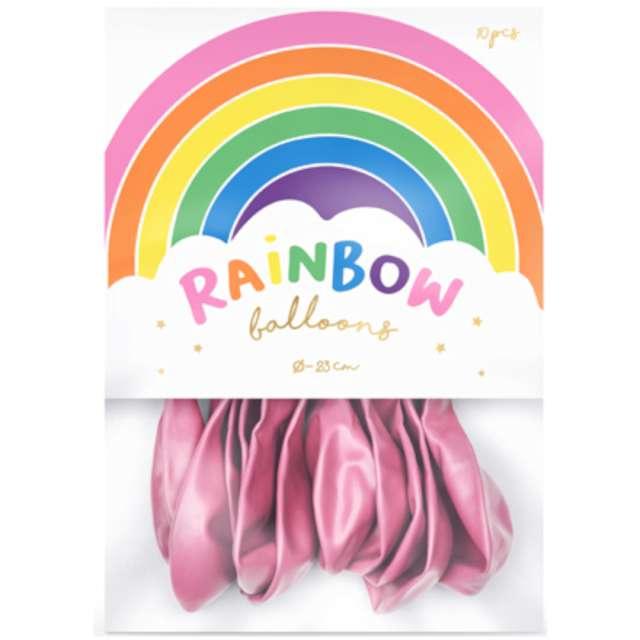 Balony Rainbow - Metalizowane różowe PartyDeco 9 10 szt