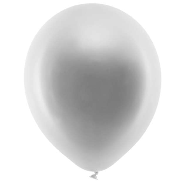 Balony Rainbow - Metalizowane srebrne PartyDeco 9 10 szt
