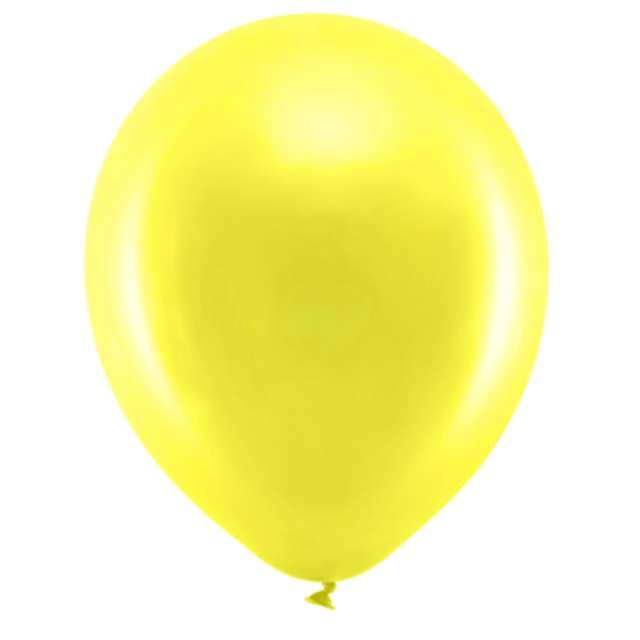 Balony Rainbow - Metalizowane żółty PartyDeco 9 10szt