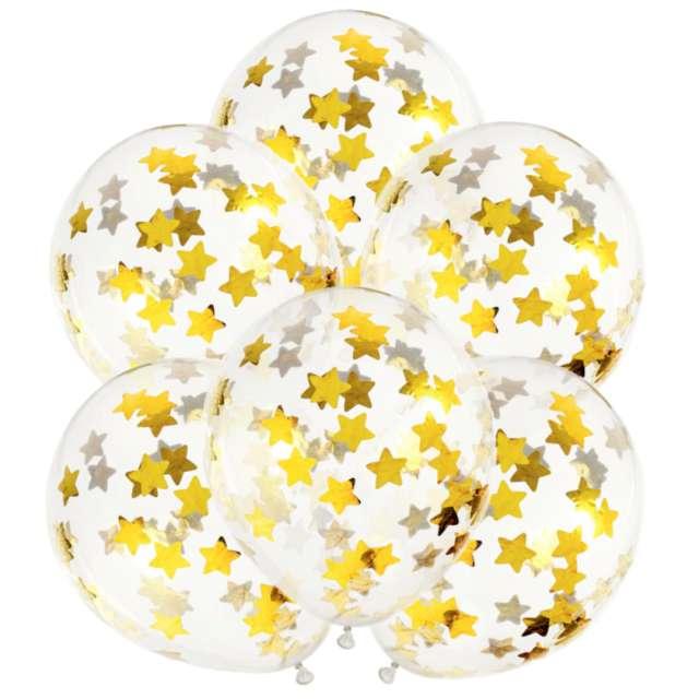 Balony z konfetti Gwiazdki - złote PartyDeco 11 6szt