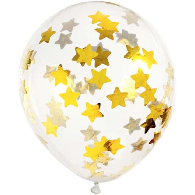 Balony z konfetti Gwiazdki - złote PartyDeco 11 6 szt