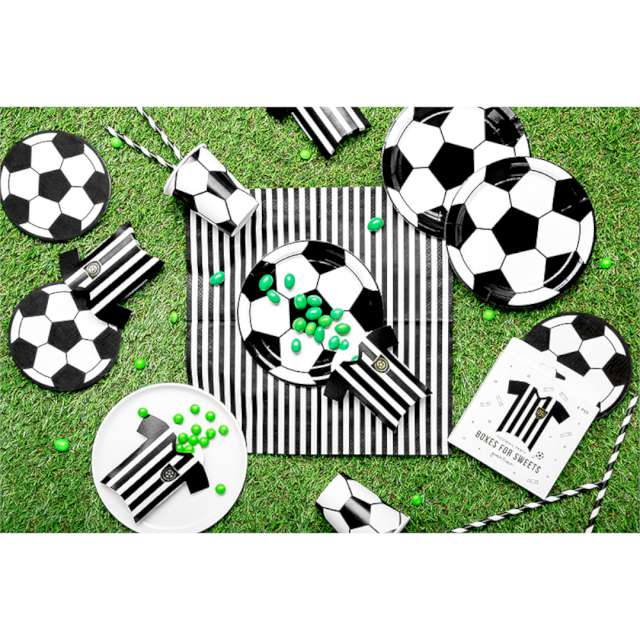 Pudełeczka dla gości Koszulki piłkarskie biało-czarne PartyDeco 6 szt