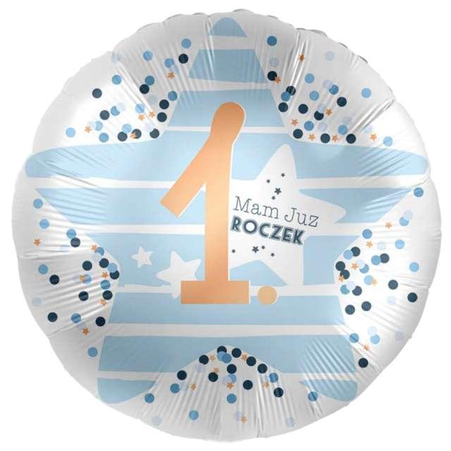 Balon foliowy 1 - Mam już Roczek biało-niebieski Amscan 17 RND