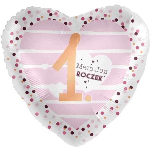 """Balon foliowy """"1 - Mam Roczek - serce"""", biało-różowy, Amscan, 17"""", HRT"""