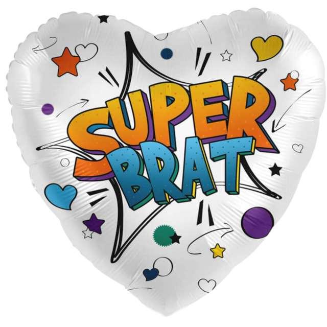 """Balon foliowy """"Super Brat - serce"""", mix, Amscan, 17"""", HRT"""