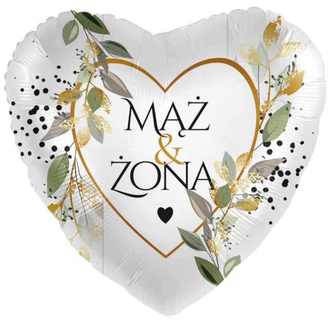 Balon foliowy Mąż i Żona - serce biało-złoty Amscan 17 HRT