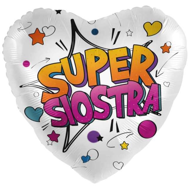 "Balon foliowy ""Super Siostra - serce"", mix, Amscan, 17"", HRT"