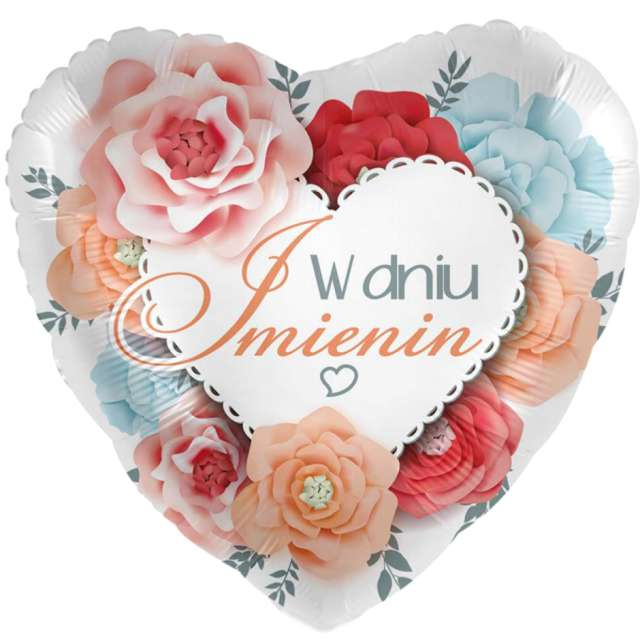 Balon foliowy W Dniu Imienin - serce mix Amscan 17 HRT